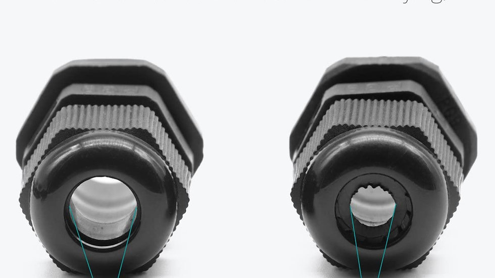PG 7 Cable Gland Black Plastic Nylon Waterproof  Connectors