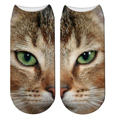 Image of Cat Print Trainer Socks