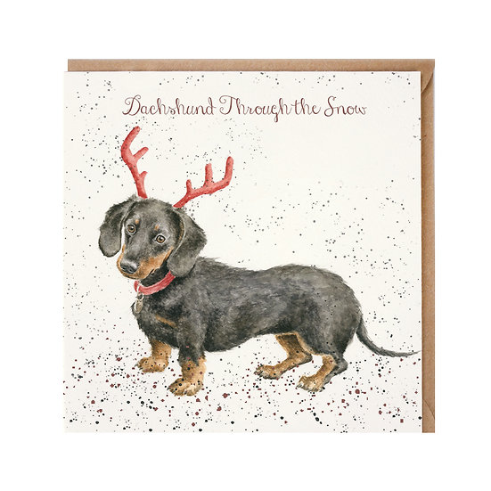 Image of Dachshund Through The Snow Christmas Card by Wrendale Designs
