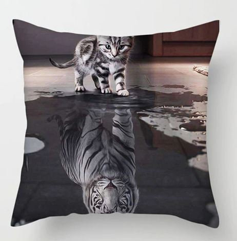 Image of Silver Tabby Cat Kitten and Tiger Cushion Cover