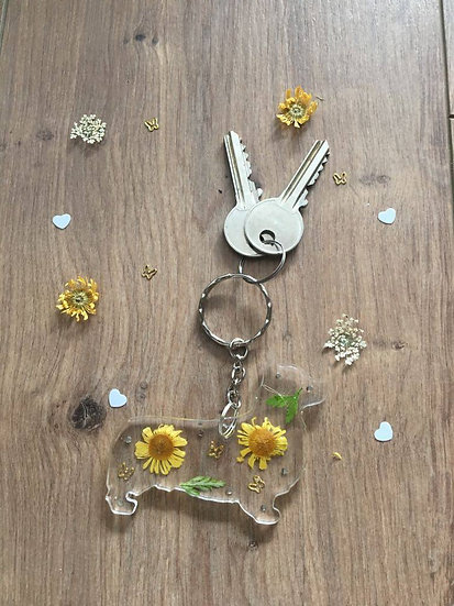 Image of Yellow Handmade Resin Corgi Dog Keyring