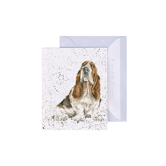 Image of Wrendale Designs 'Did Somebody Say Cake' Dog Mini Greetings Card.