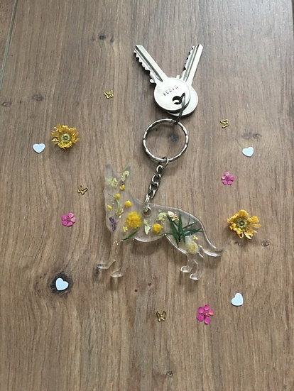 Yellow Alsatian Dog Keyring Main