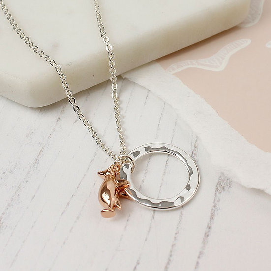 Silver Plated Hoop Rose Gold Penguin Necklace