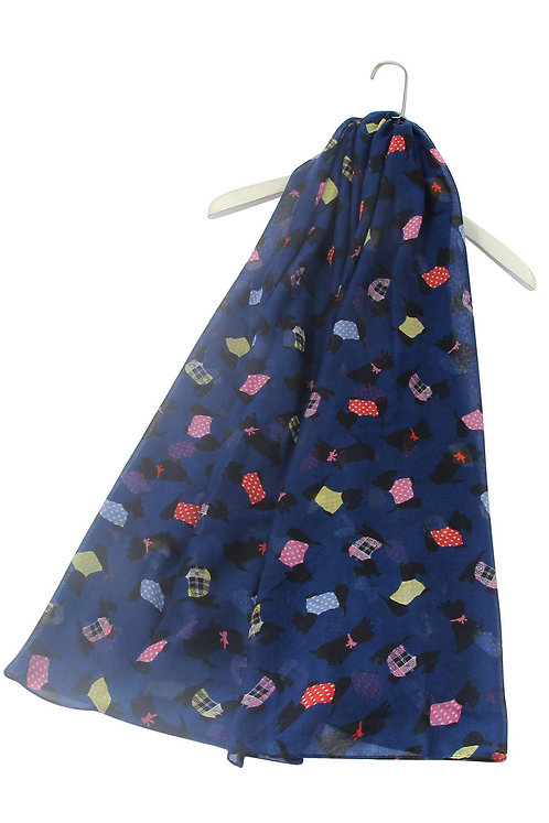 Image of Navy Scottish Terrier Scottie Dog Print  Scarf
