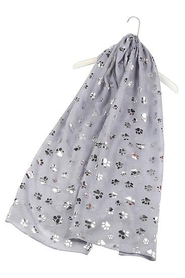 Ladies Foil Paw Print Scarf Shawl Wrap Grey Main