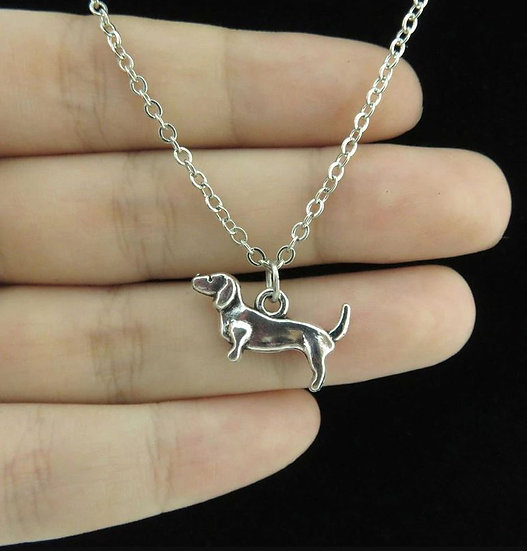 Image of Plain Silver Dachshund Necklace
