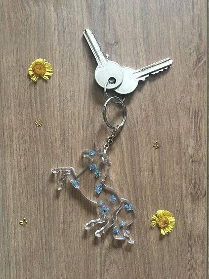 Handmade Unicorn Resin Keyring Blue Flowers Main