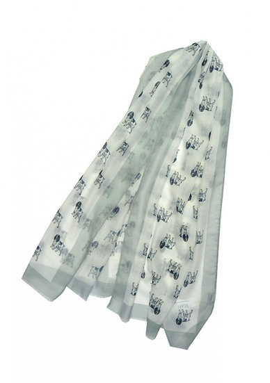 Cocker Spaniel Dog Print Scarf White