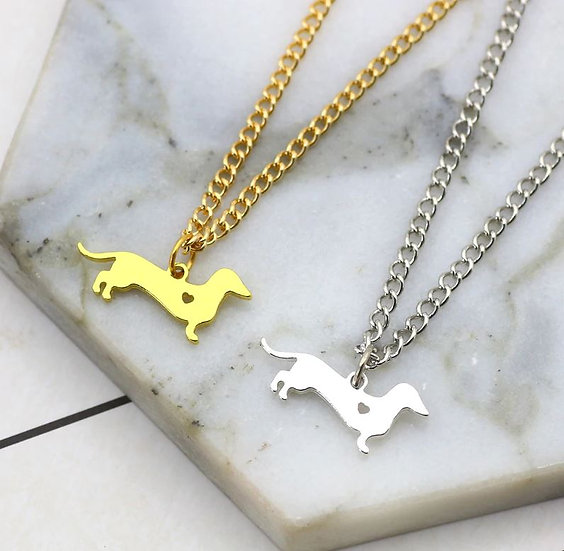 Image of Gold and Silver Sausage Dog Heart Necklace
