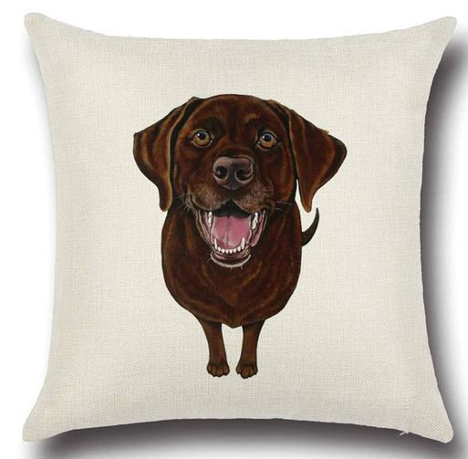 Chocolate Labrador Retriever Dog Cushion Cover