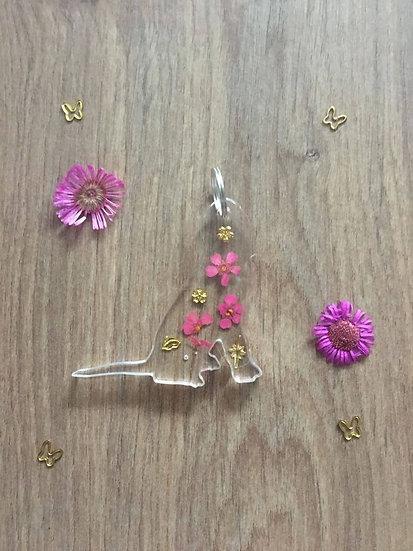 Handmade Spaniel Dog Resin Keyring Pink Main