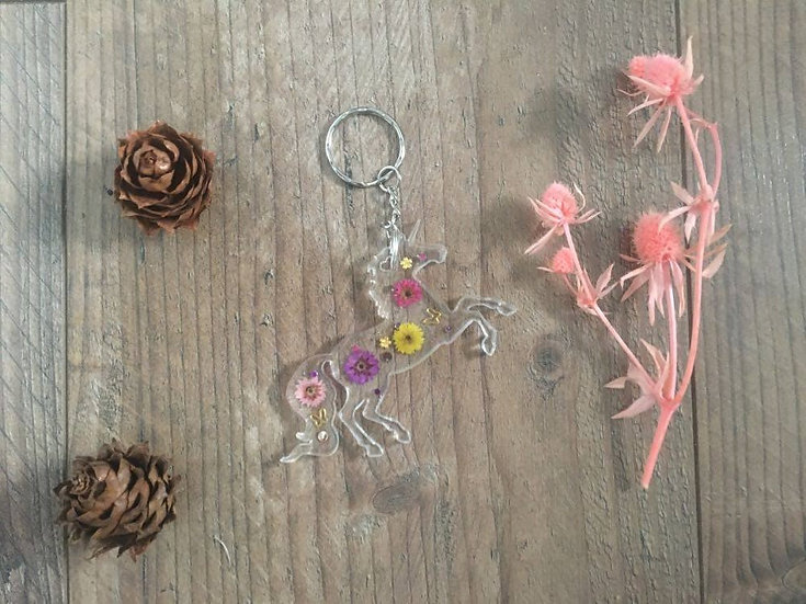 Image of Floral Handmade Resin Unicorn Keyring