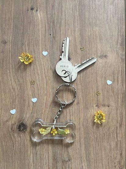 Image of Yellow Handmade Resin Dog Bone Keyring
