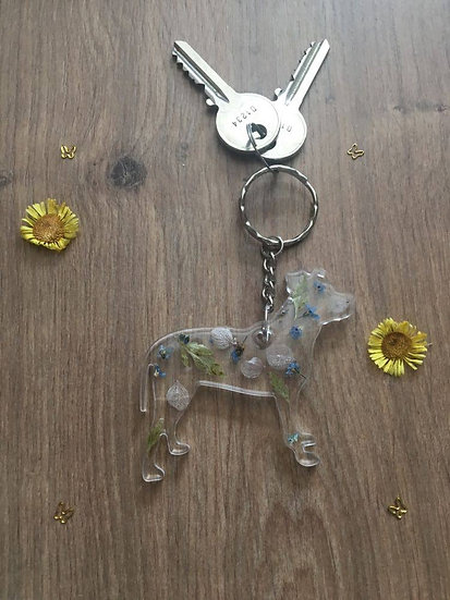 Image of Large Handmade Resin Staffordshire Bull Terrier Keyring