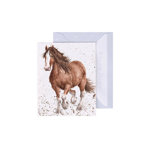 Image of Wrendale Designs 'Feathers' Horse Mini Greetings Card