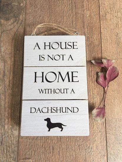 Grey Dachshund Sausage Dog Handmade Hanging Wooden Plaque