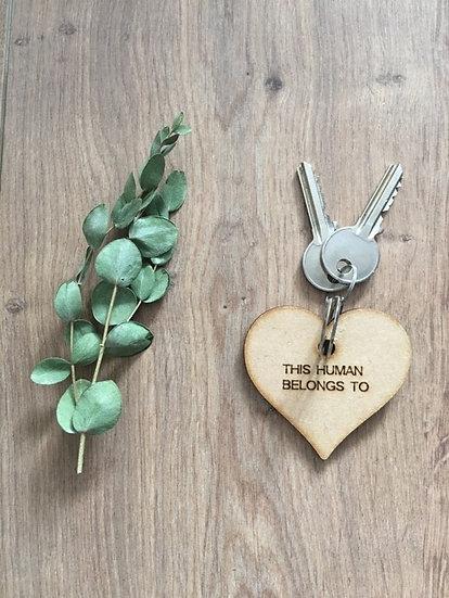Handmade Wooden Heart Keyring