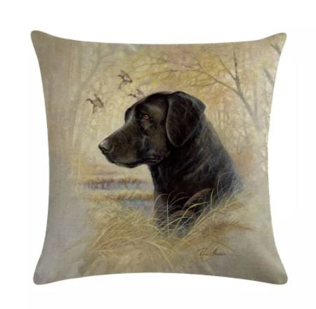 Image of Black Labrador Dog Cushion Cover