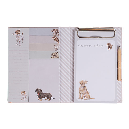 Image of an open A Dog's Life Sicky Notes Book by Wrendale Designs