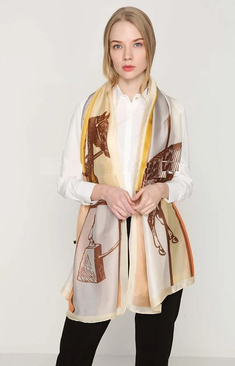 Image of Large Horse Print Silk Scarf by Furever Gifts