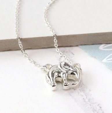Image of Silver Plated Elephant Necklace