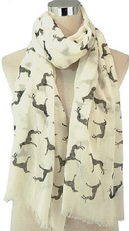 Image of White Greyhound Dog Print Scarf
