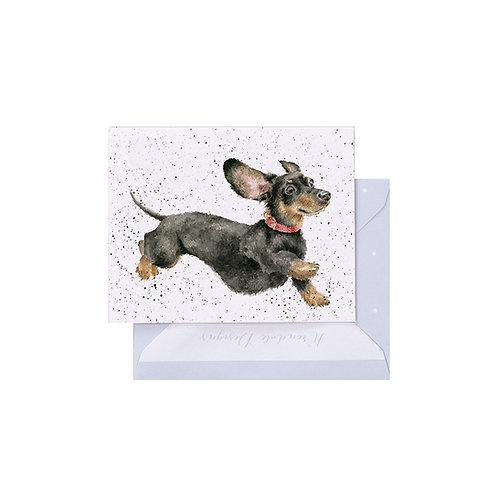 Image of Wrendale Designs 'That Friday Feeling' Dachshund Dog Mini Greetings Card