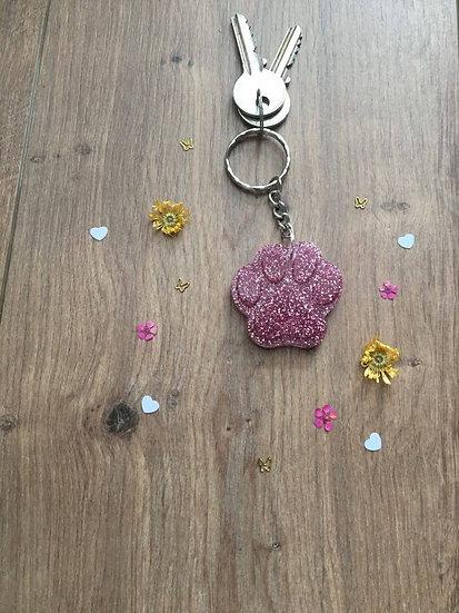 Image of Pink Glitter Handmade Resin Paw Print Keyring