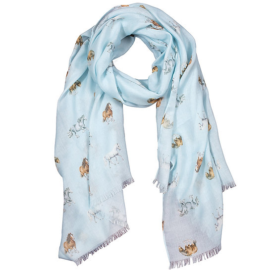 SCF019 Wrendale Designs Feather and Forelocks Scarf