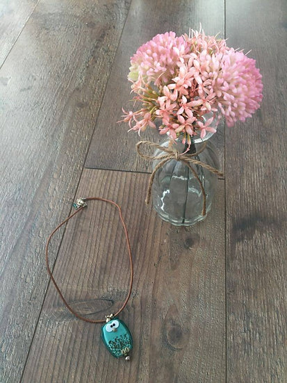 Image of Handmade Owl Necklace with Vase of Flowers