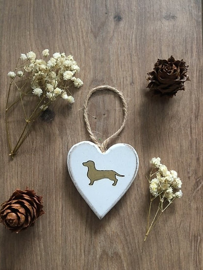 Handmade Gold Wooden Dachshund Sausage Dog Puppy Heart