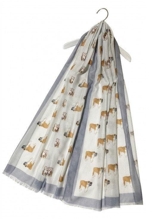 Image of Grey British Bulldog Print Scarf