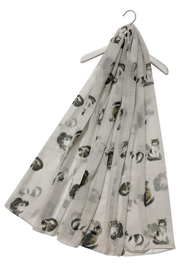 Ladies Cat Kitten Print Scarf Shawl Wrap White Main