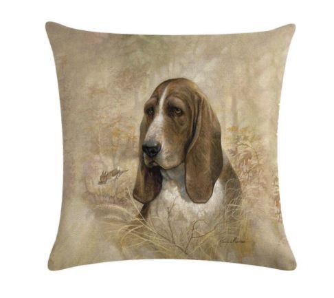 Image of Basset Hound Dog Cushion Cover