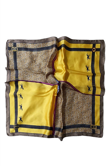 Horse With Belt Border Square Scarf Mustard Main