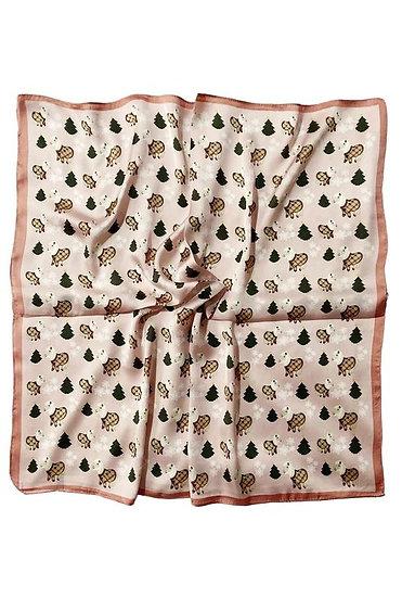 Image of festive pony print head scarf