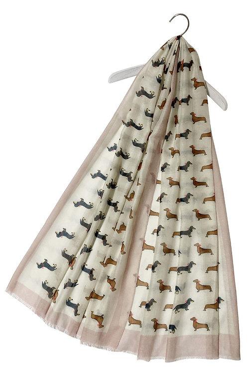 Image of Beige Dachshund Sausage Dog Print Scarf