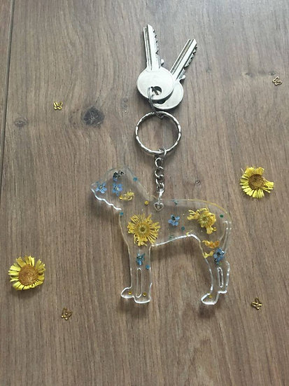 Handmade Bullmastiff Resin Keyring Yellow Main