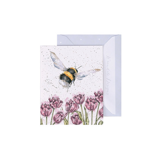 Image of Wrendale Designs 'Flight of the Bumble Bee' Mini Greetings Card.
