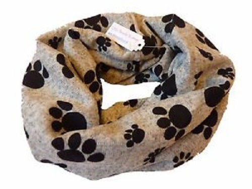 Grey Paw Print Snood Face Mask