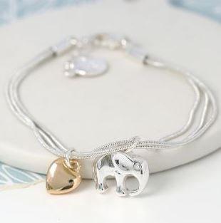 Triple Strand Silver Plated Elephant Heart Bracelet
