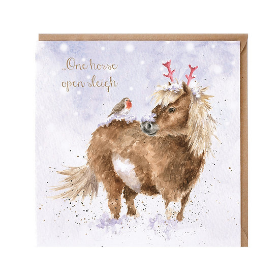 Image of One Horse Open Sleigh Christmas Card by Wrendale Designs