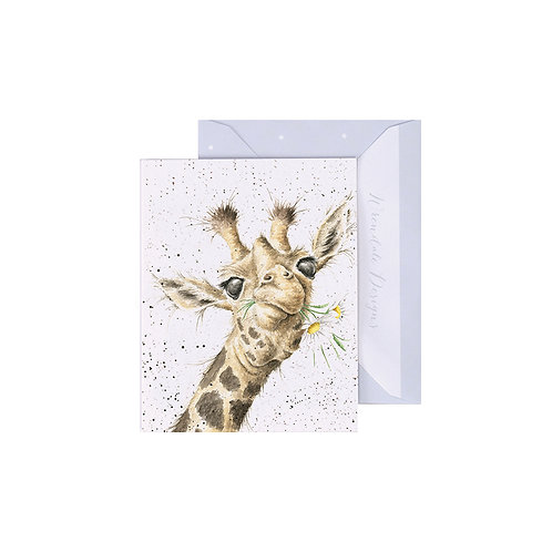 Image of Wrendale Designs 'Flowers' Giraffe Mini Greetings Card
