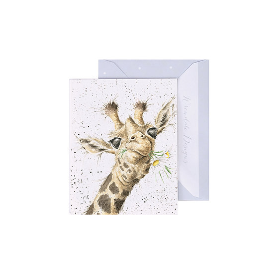 Image of Wrendale Designs 'Flowers' Giraffe Mini Greetings Card