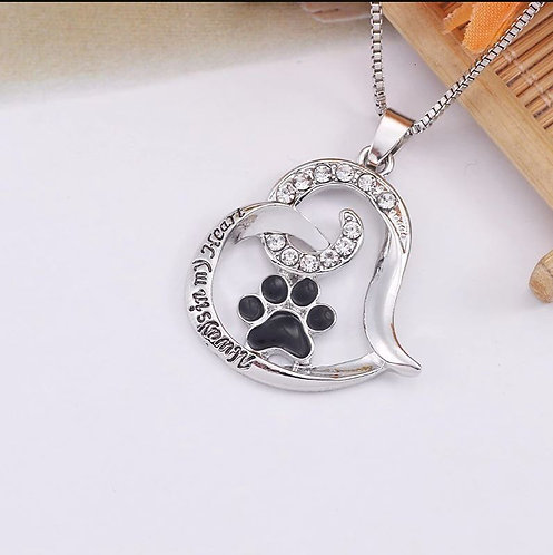 Image of Paw Print Pet Memory Necklace
