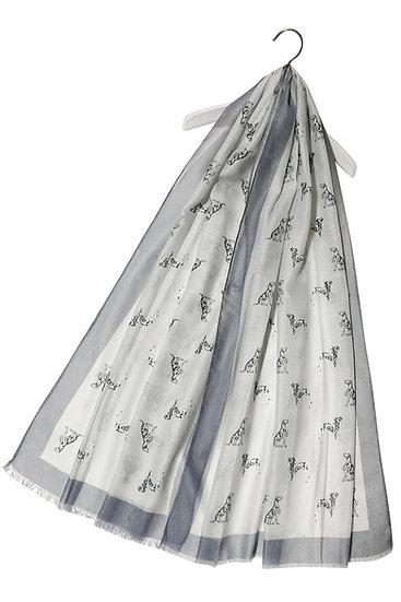 Dalmatian Dog Puppy Print Frayed Scarf Shawl Wrap Grey Main