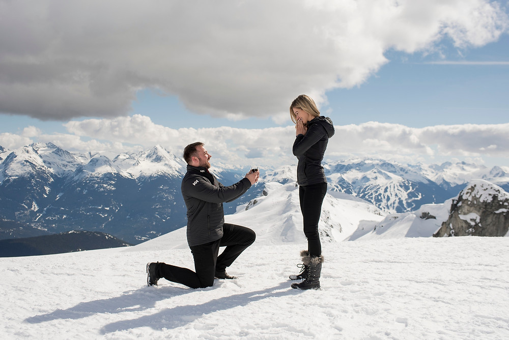 Sunny Whistler proposal photography on Rainbow Glacier with Whistler mountain behind