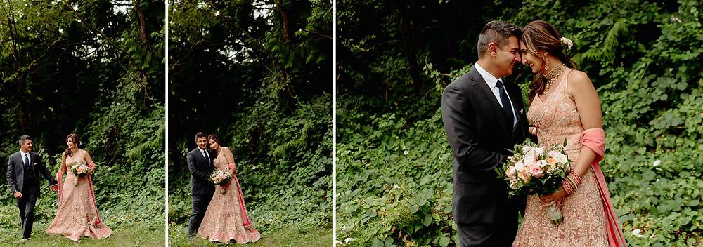 bride groom portrait forest vancouver