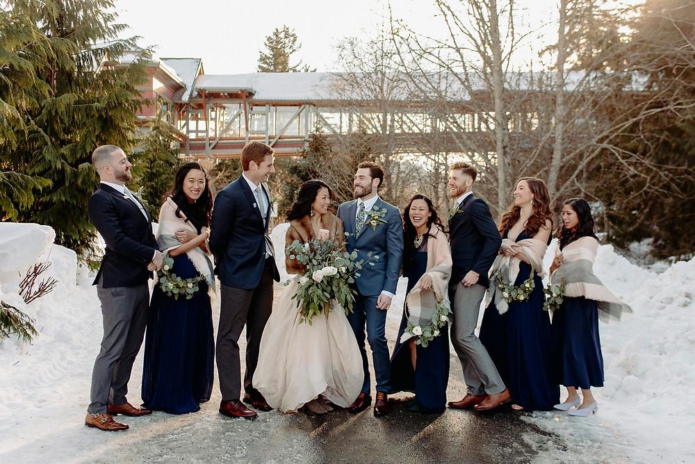 nita lake wedding bridal party whistler winter wedding